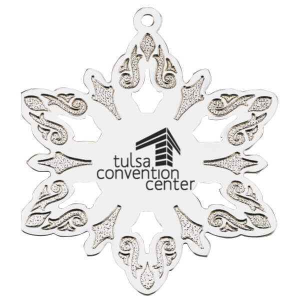 star ornament with company logo