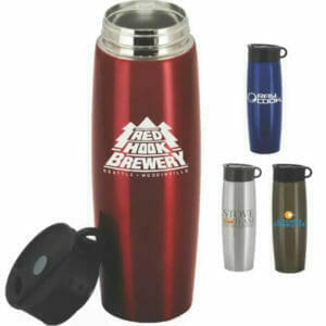 stainless thermos with brewary logo
