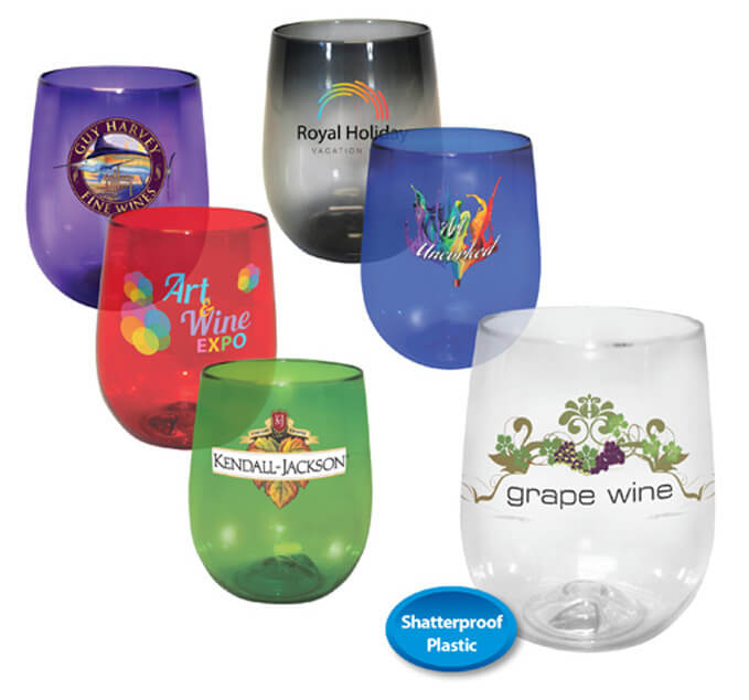 stemless wine glasses with logos
