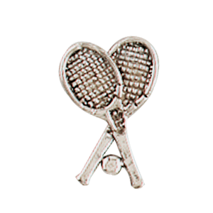 crossed tennis rackets with ball lapel pin
