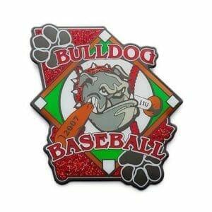custom bulldog baseball trading pin