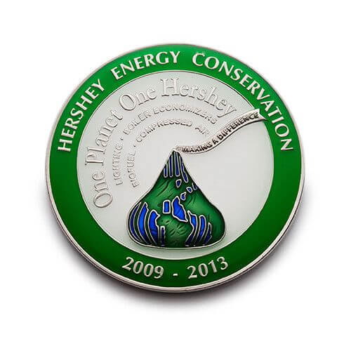 transparent enamel pin for Hersey Energy Conservation