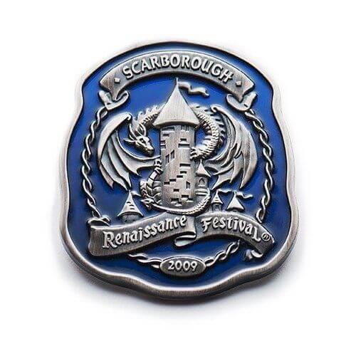transparent enamel pin for Scarborough Renaissance Festival