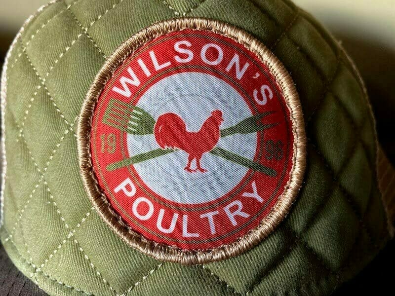 woven patch label on a hat